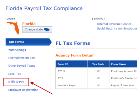e-file and pay tab in florida payroll tax compliance window in QuickBooks
