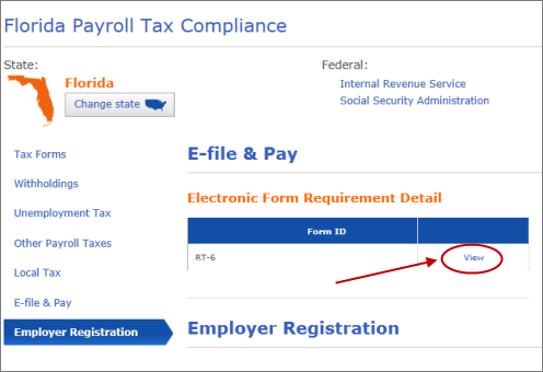employer registration tab in florida payroll tax compliance window in QuickBooks