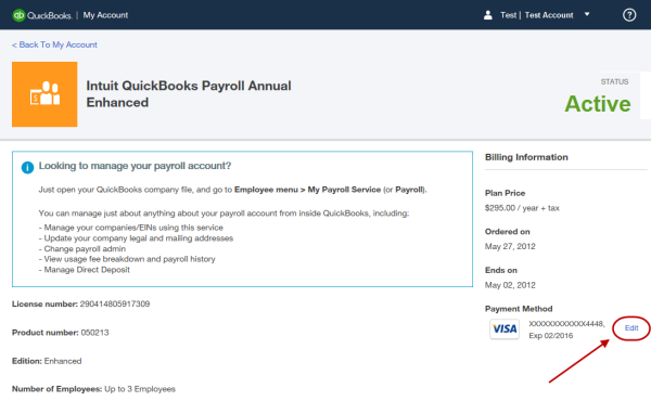 Update billing information for your quickbooks desktop payroll s at the right in the billing information section click the edit link next to the payment method altavistaventures Images