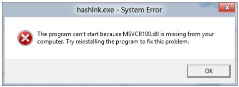 the program cant start because msvcr100.dll is missing