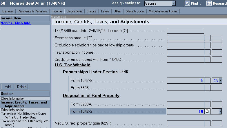Entering Income And Withholdings From Form 1042 S Accountants