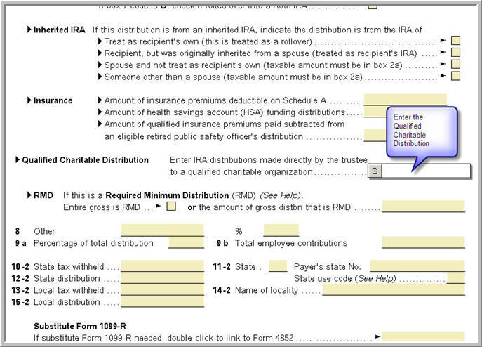 Entering A Form 1099 R For Qualified Charitable Distributions Fr