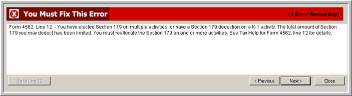 1040 Section 179 On Multiple Activities Being Limited Error Message