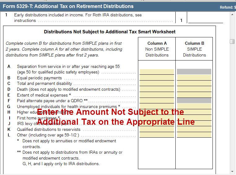 1040 Form 5329 Entering Exceptions To The Additional Tax On Dist