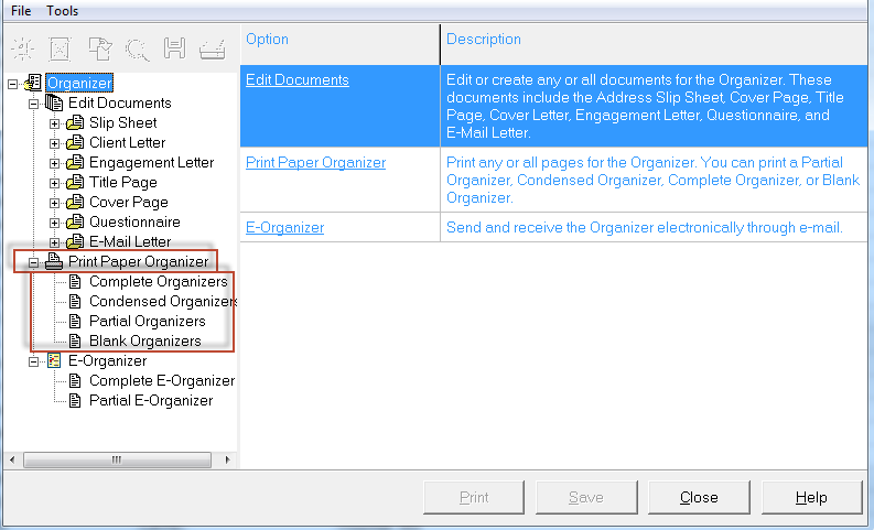 printing organizers in lacerte accountants community