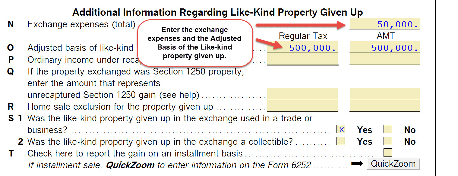 Worksheets Like Kind Exchange Worksheet 1040 completing a like kind exchange of business property 103 the amounts entered on summary smart worksheet and additional information regarding given up section are