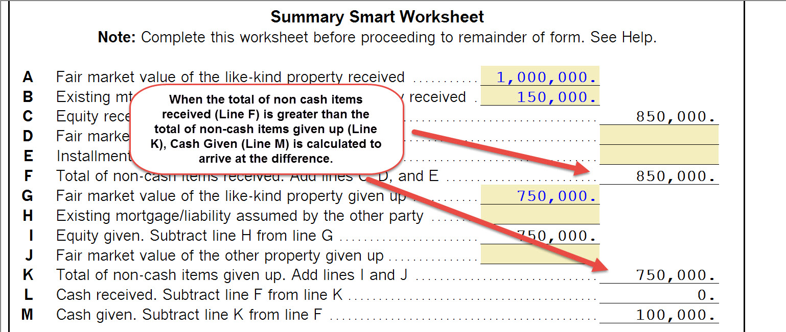 Worksheets Like Kind Exchange Worksheet 1040 completing a like kind exchange of business property 103 click here to see an example the summary smart worksheet for with cash given