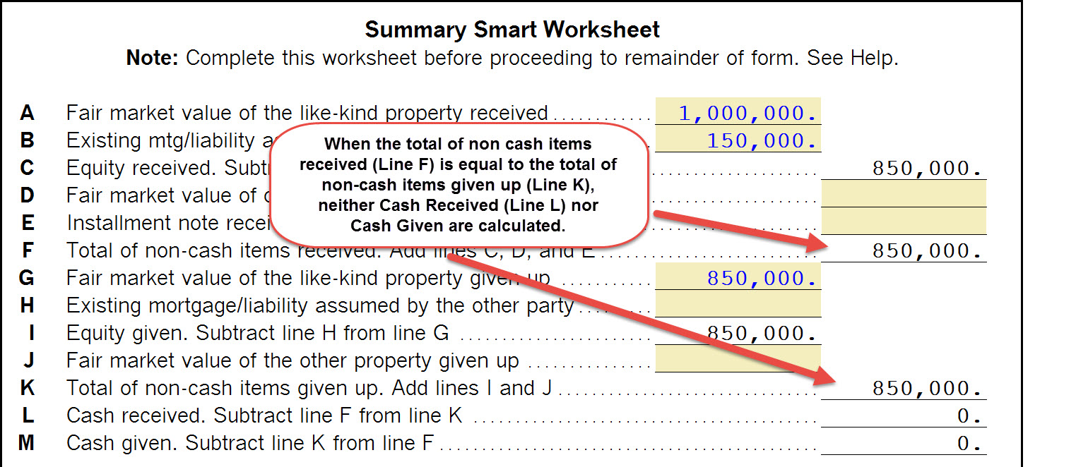 Worksheets Like Kind Exchange Worksheet 1040 completing a like kind exchange of business property 103 click here to see an example the summary smart worksheet for even exchange