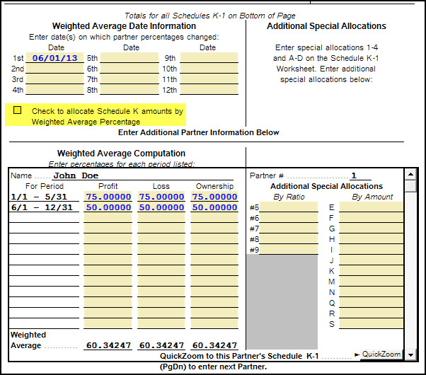Using Weighted Averages For Schedule K-1 Form 1065