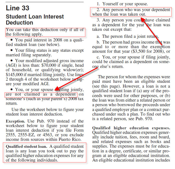 Student loan interest does not flow to form 1040 page 1 when tax note there are income limitations which may cause the amount not to flow to the form review the instruction image on this article publicscrutiny Images