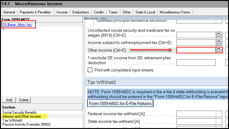 Entering Amounts From A Form 1099 Misc In The Individual Module