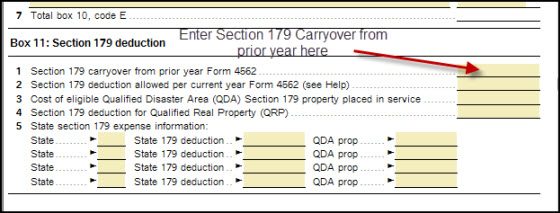 entering section 179 expense carryover accountants community
