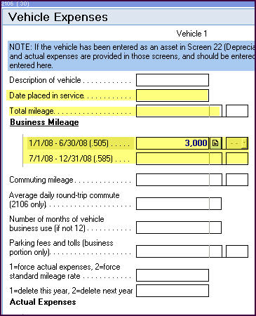 entering form 2106 business mileage in a multi state return