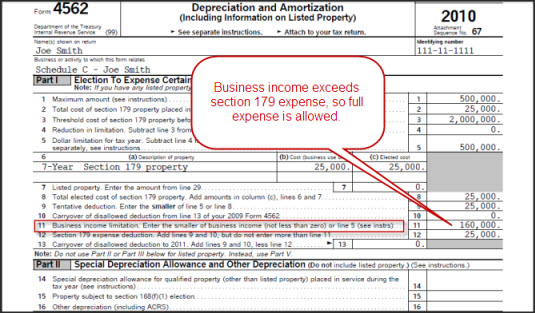Form 4562 Section 179 Expense Deduction Business Income Limitation