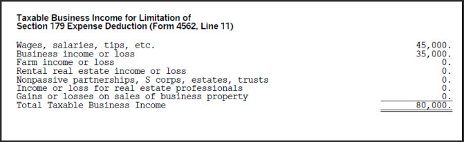 Form 4562 Section 179 Expense Deduction Business Income Limitation