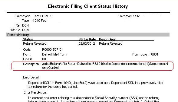 1040 Reject F1040 504 01 Or R0000 507 01 Dependents Ssn Has Bee