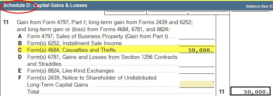1040 Form 4684 Gain From Insurance Reimbursement Accountants Community