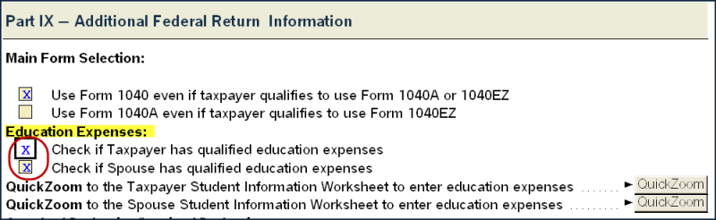Part X - Check the appropriate box under Education Expenses for taxpayer or spouse if either has education expenses.