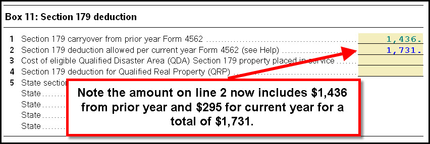 Form 4562 Line 12 - The total allowable Section 179 does not mat ...