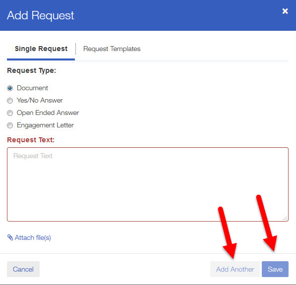 once you select request templates choose the request template you would like to use