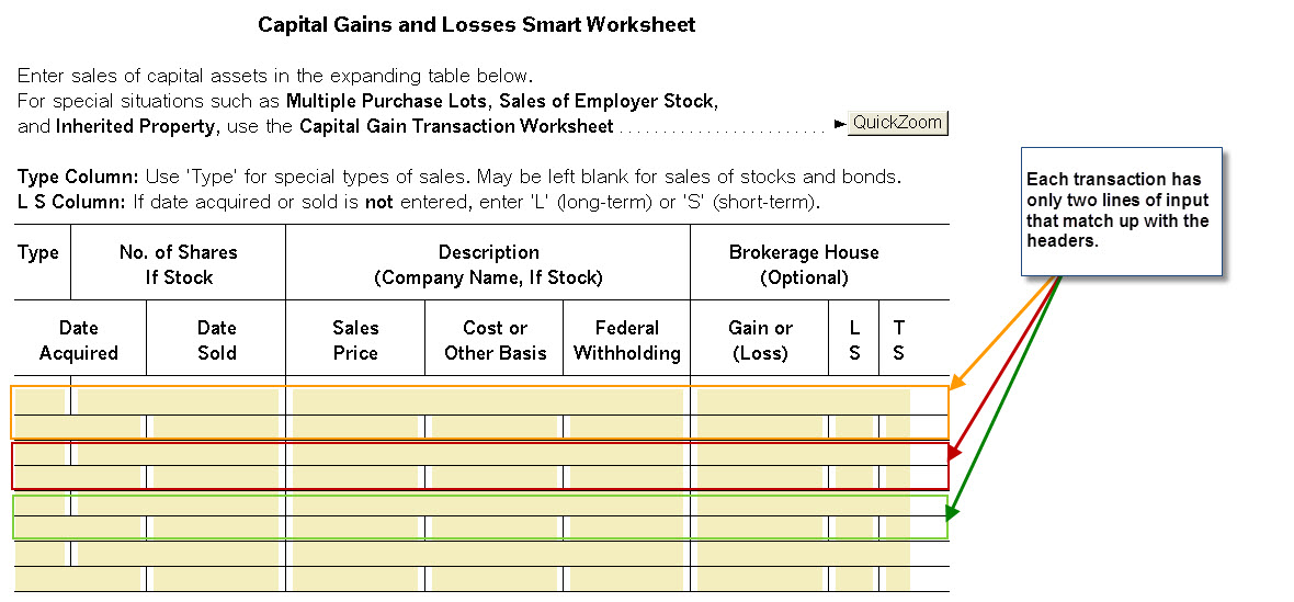 Schedule D Capital Gains And Losses Smart Worksheet Sales Of C