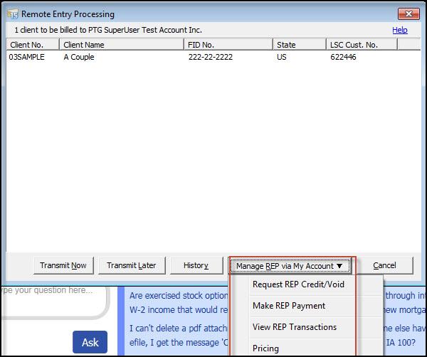 Manage Rep Activity Via My Account Within Lacerte Program
