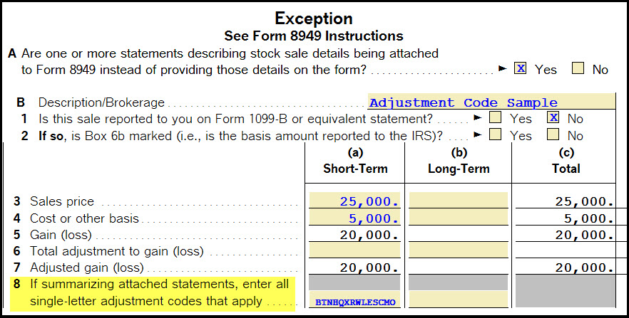 Entering Multiple Codes On Business Form 8949 Column F Accountants