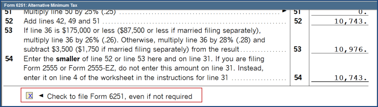 1040 How Can I Force Form 6251 Amt To Calculate When Not Req