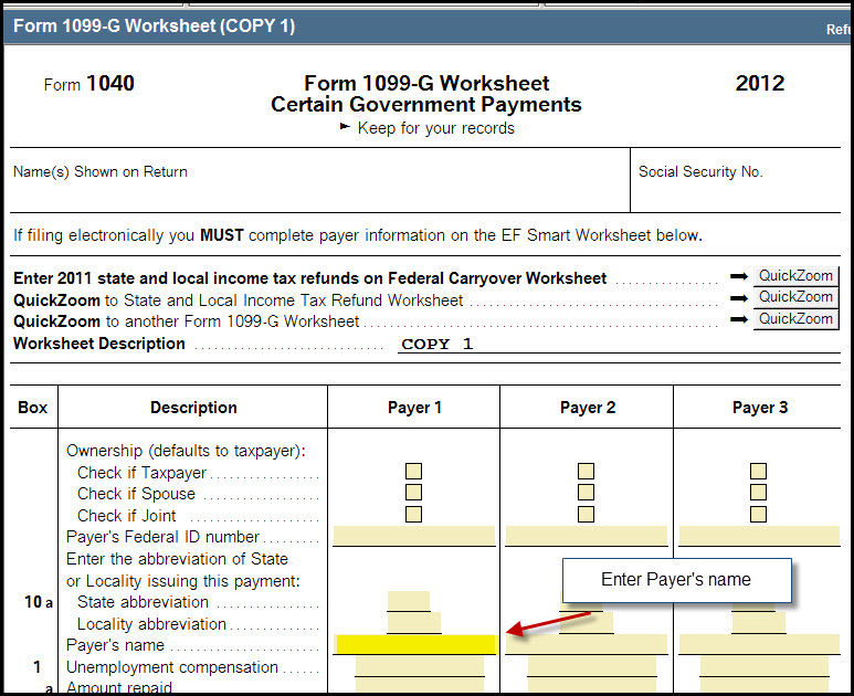 Form 1099 G Electronic Filing Reject References Payer Ein Or Pay