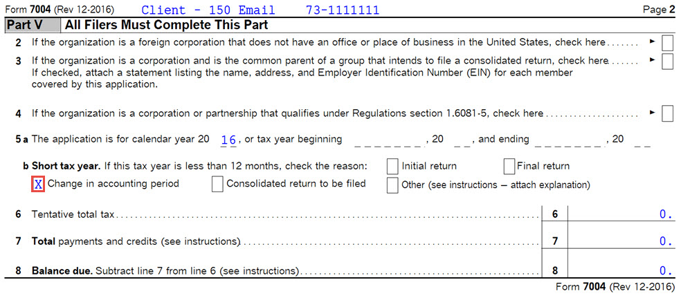S Corporate Form 7004 Marked As Short Year After Updating To Ver