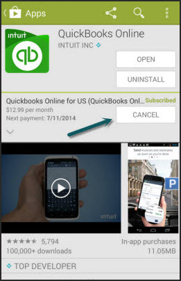 """Cancel QuickBooks Online in Google Play Store"""""""