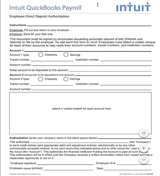 quickbooks direct deposit authorization form