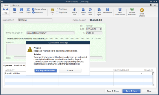 you're about to pay your payroll liabilities warning in QuickBooks Payroll