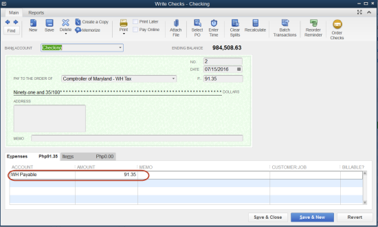 scheduled payroll liabilities amount in QuickBooks Payroll