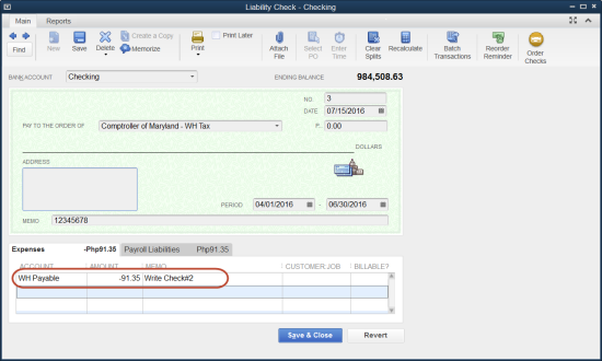 negative amount in scheduled payroll liabilities in QuickBooks Payroll