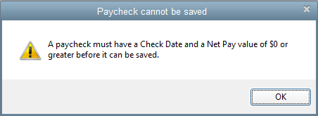 Paycheck cannot be saved alert message in QuickBooks