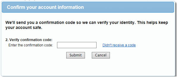 Enter confirmation code to verify identity in QuickBooks Online