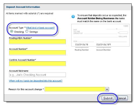 Edit despot account information button in QuickBooks Online