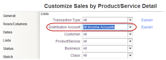 select all income accounts