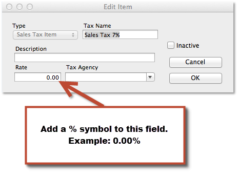 Add percentage symbol after importing to QuickBooks Online