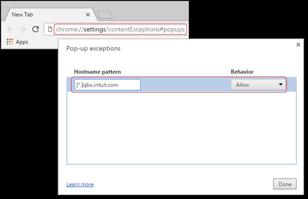 Image showing list of blocked pop-ups