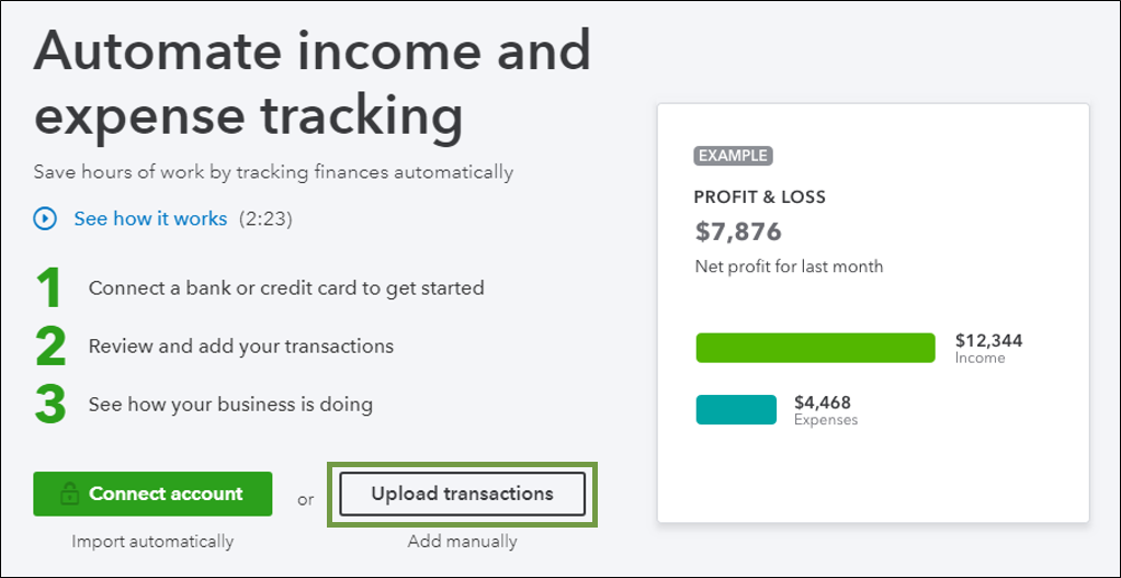 Manually upload transactions into QuickBooks Onlin    - QuickBooks