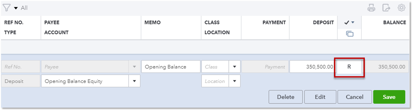 enter an opening balance for a bank account quickbooks community