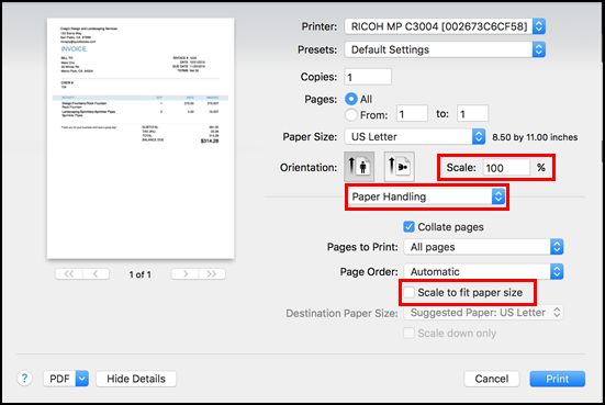 QuickBooks printer settings