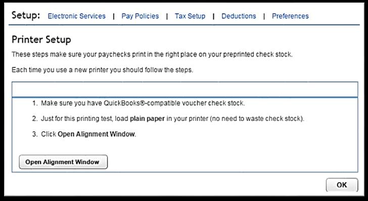 Print alignment window in QuickBooks Online
