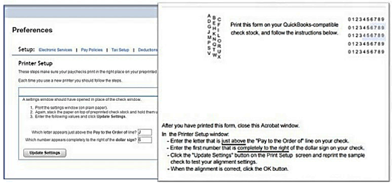Paper size print instructions in QuickBooks Online