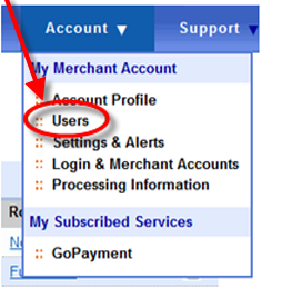 Select users in My Merchant Account menu in QuickBooks Online