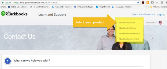 Select QuickBooks product on Contact Support page