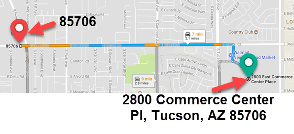 Example of the distance from the center of a ZIP code to an address within that ZIP code