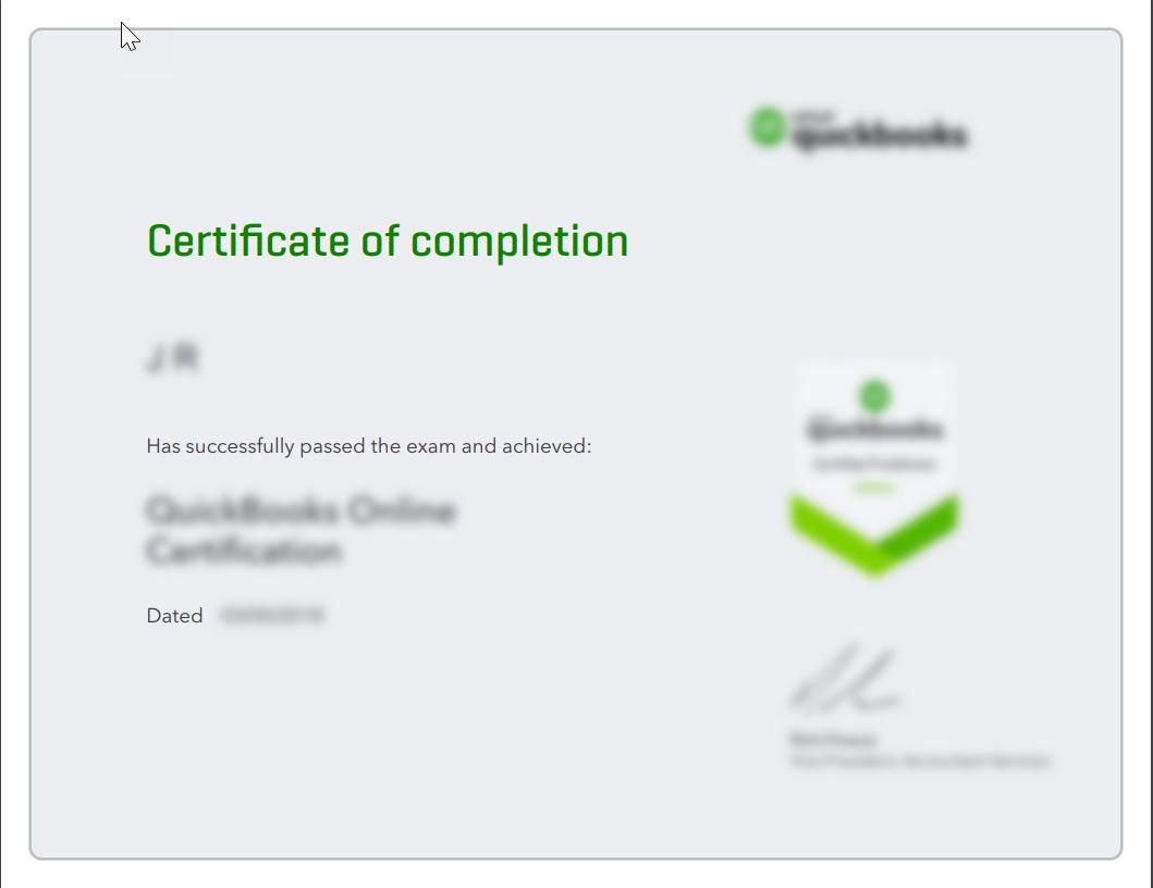 Exam certificate for QuickBooks Online Accountant